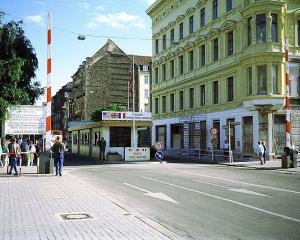 Checkpoint Charlie. Discover more from the Cold War Museum through the photograph. Wikimedia Commons