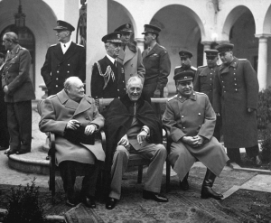 Churchill, Roosevelt and Stalin (left to right) at the Yalta Conference.