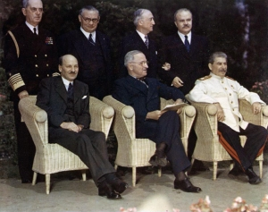 Attlee, Truman and Stalin at the Potsdam Conference. Wikimedia Commons: U.S. National Archives