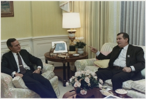 Lech Walesa (right) with President H.W. Bush (left) in 1989. Wikimedia Commons: U.S. National Archive