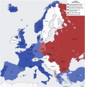 A map of Yugoslavia's location with regards to the cold war divide in Europe