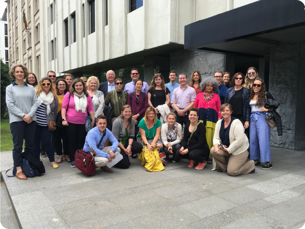 A picture of the 2018 Brussels Study Tour group.
