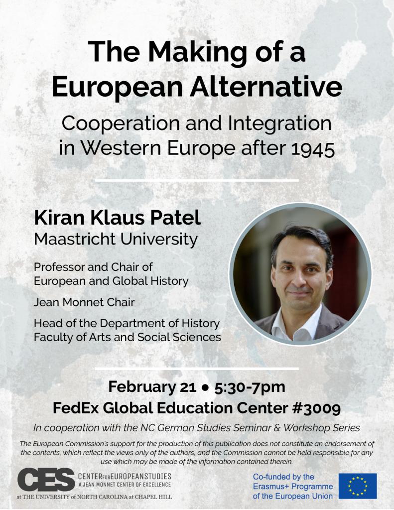 Flyer advertising talk by Kiran Klaus Patel on February 21 2019.