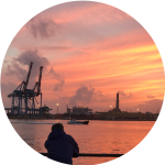 Decorative image of the silhouette of a man looking out over the docks in Antwerp at sunset.