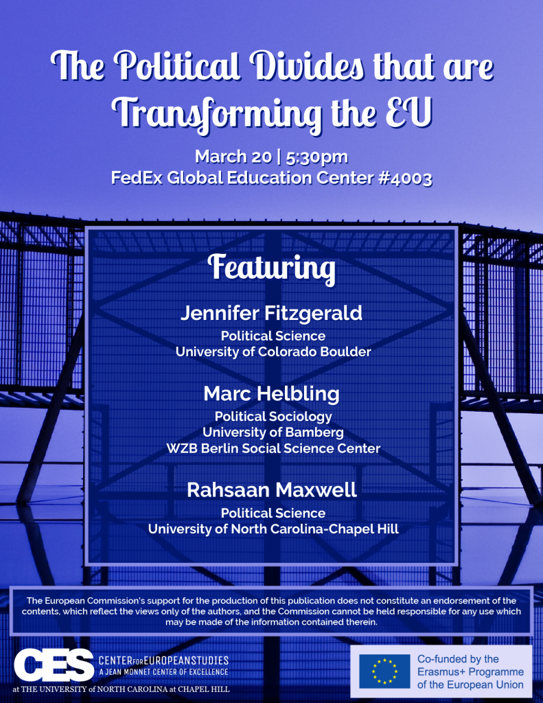 Flyer advertising panel on political divides in the EU on March 20 2019.