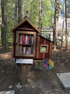 Books in a birdhouse-like structure in a forest with a house in the background.