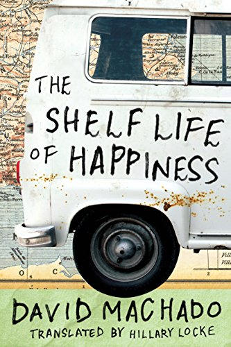 Cover of The Shelf Life of Happiness, showing the title against the back of a van juxtaposed with a road map in the background.