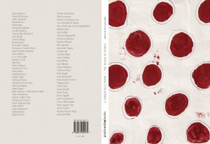 Cover of book, with red circular stains on white cloth on front cover, and two columns of text on back cover.