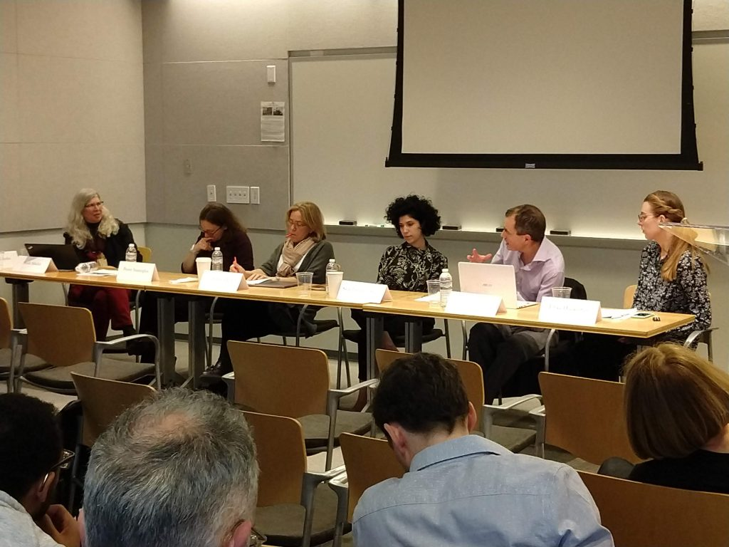A panel of five people at the Lost Futures conference.