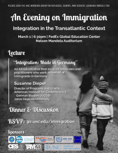 Flyer for the lecture on immigration integration in the transatlantic context.