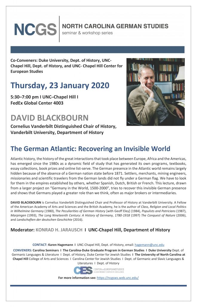 Event flyer for David Blackbourn lecture on January 23 2020, PDF and details available on web event.