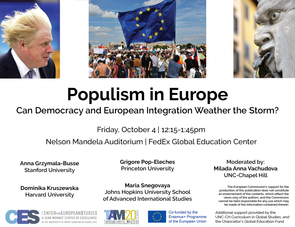 Flyer advertising panel on populism on October 4 2019.