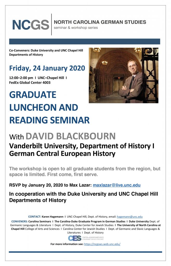 Event flyer for graduate student luncheon on January 24 2020, PDF and details available on web event.
