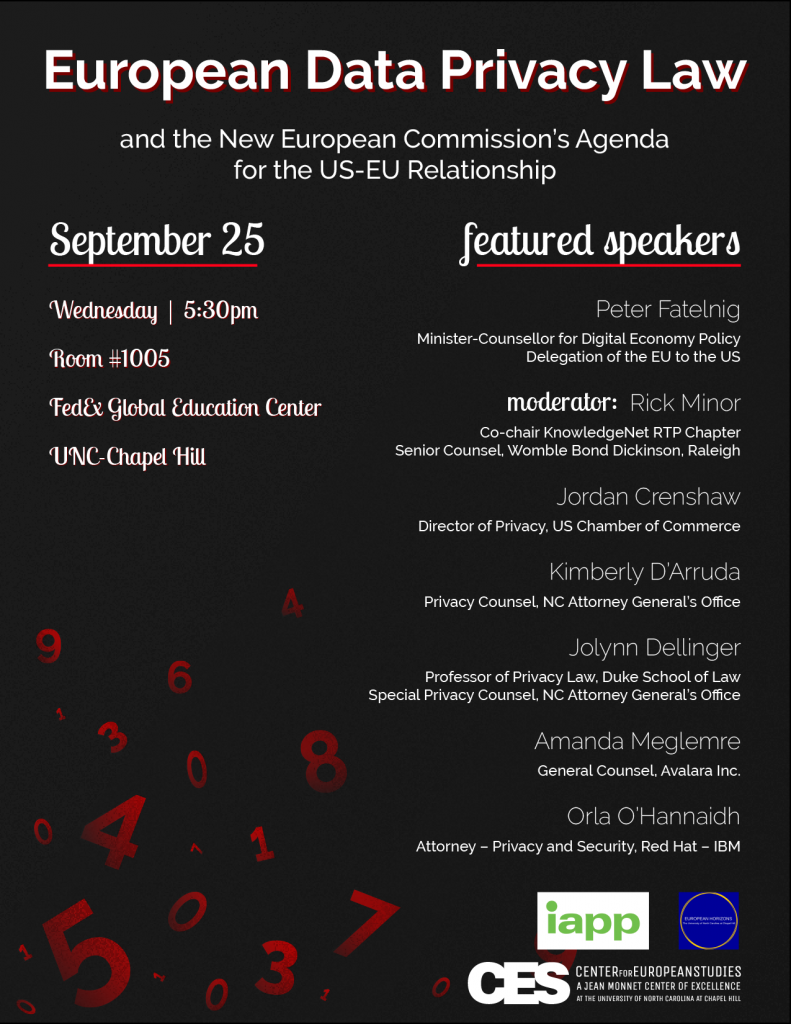 Flyer for data privacy event found on our event web page and by request to europe@unc.edu.