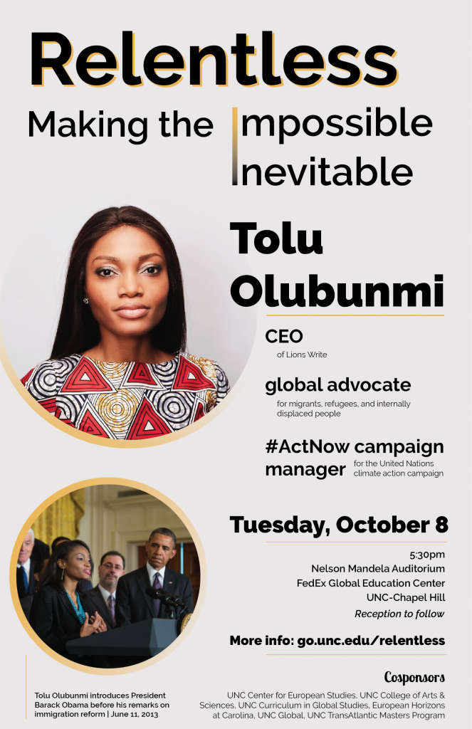 Flyer for event with Tolu Olubunmi, PDF version available on event page.