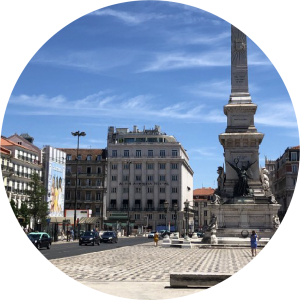 Decorative photo of city square in Lisbon.