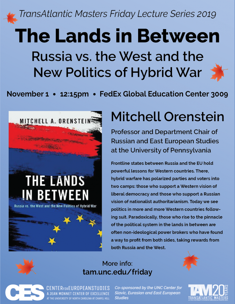 Event flyer for Mitchell Orenstein November 1 Russia and the EU lecture, PDF is available on europe.unc.edu website.