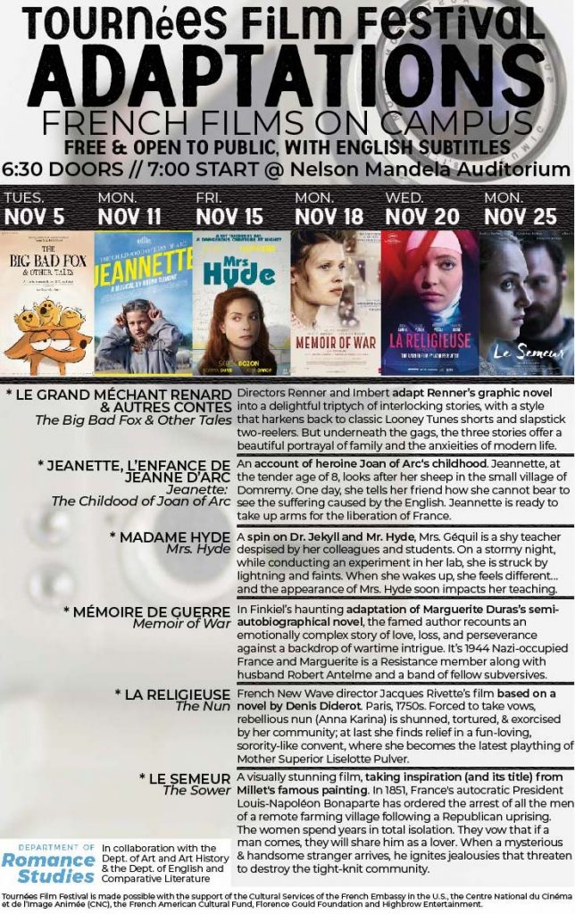 Poster with details of all films in the 2019 Tournees Film Festival at UNC-CH.