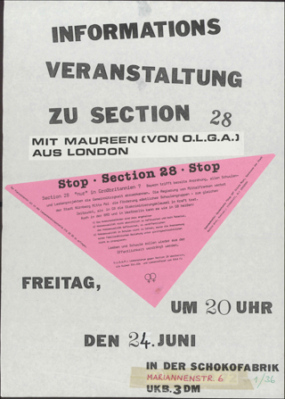 A poster that says Informations Verstaltung zu Section 28, advertising the time date and place of a protest.