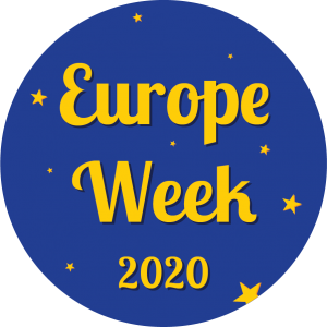 Circular graphic with small stars surrounding words Europe Week 2020.