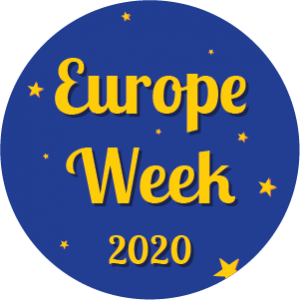 Circular graphic with stars and words Europe Week 2020.