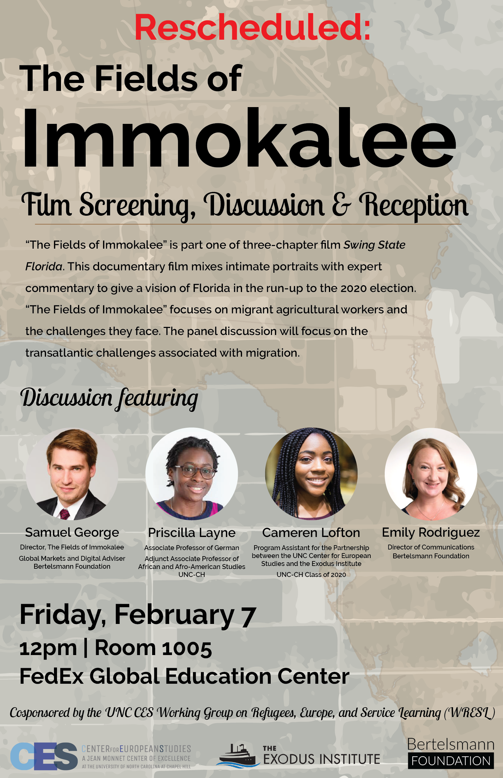 Flyer for Fields of Immokalee screening event on Feb 6 2020.