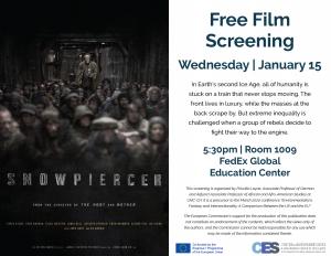 Flyer advertising Snowpiercer film screening on January 15 2020.