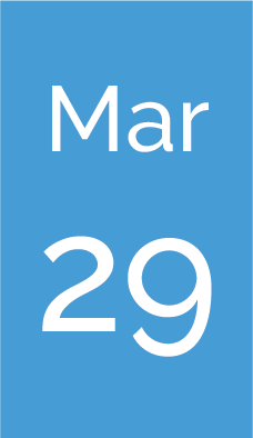 Rectangle with text saying Mar 29.