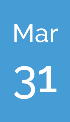 Rectangle with text saying Mar 31.
