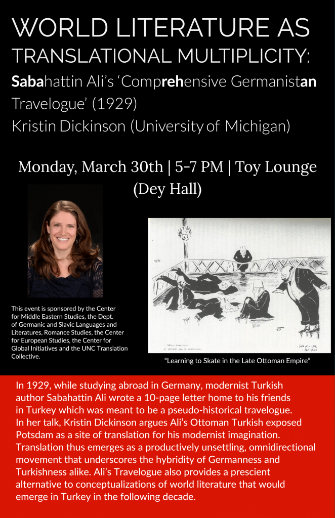 Flyer for Kristin Dickinson talk on March 30, 2020.