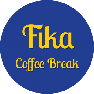 Decorative circle with text that says Fika Coffee Break.