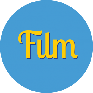 Decorative circle with text that says Film.