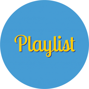 Decorative circle with text that says Playlist.