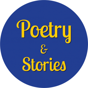 Decorative circle with text that says Poetry and Stories.