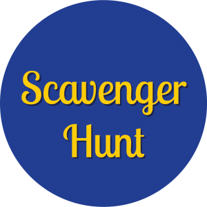 Decorative circle with text that says Scavenger Hunt.