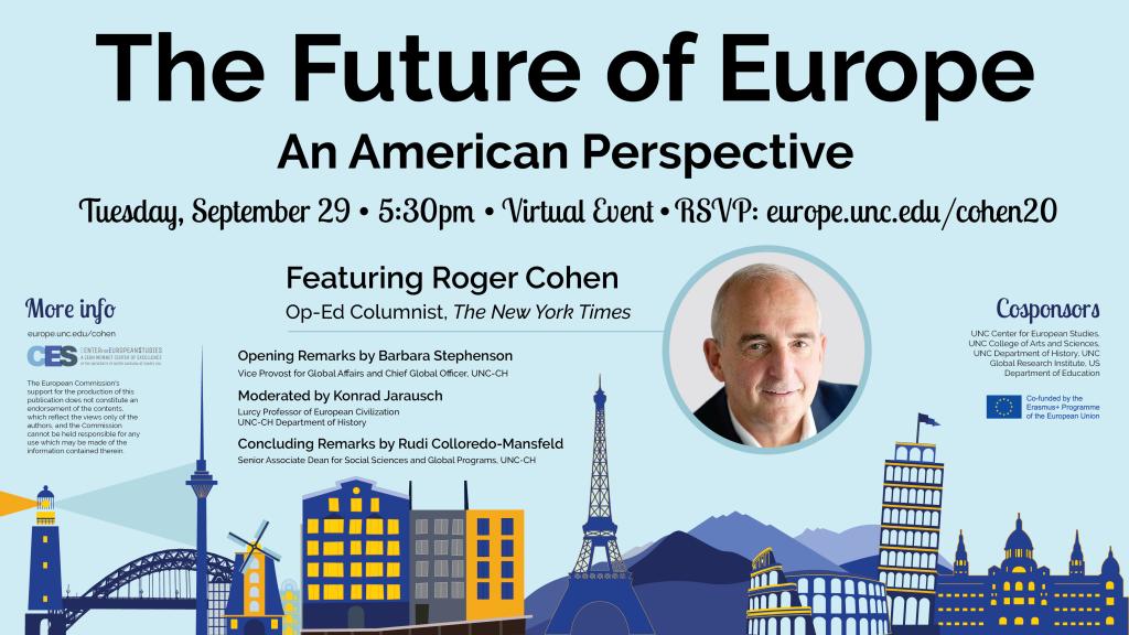 Flyer advertising Roger Cohen's talk on September 29 2020.