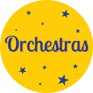 """Decorative circle with word """"Orchestras"""" in it."""