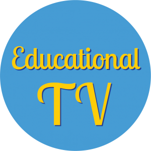 Decorative circle with text that says Educational TV.
