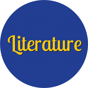 Decorative circle with text that says Literature.