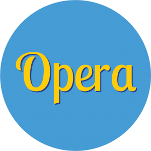 Decorative circle with text that says Opera.