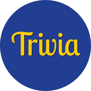 Decorative circle with text that says Trivia.