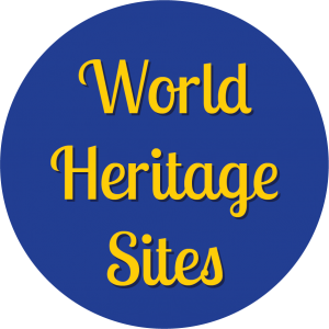 Decorative circle with text that says World Heritage Sites.
