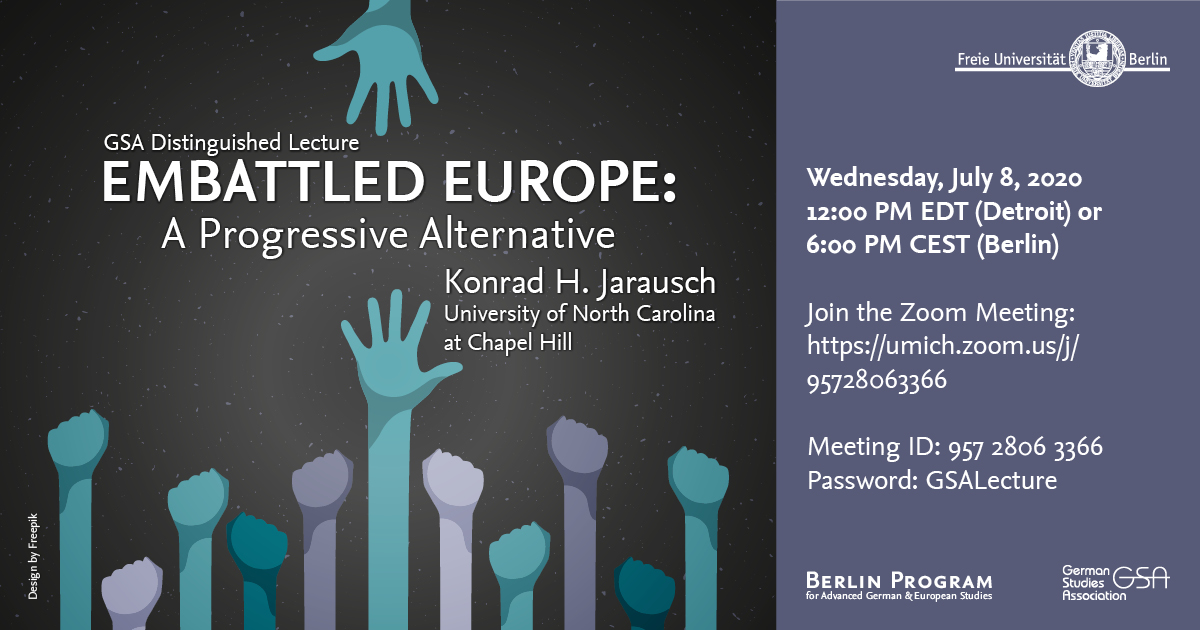 Flyer for Embattled Europe event with Konrad Jarausch on July 8 2020.