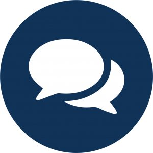 Icon of two overlapping speech bubbles.