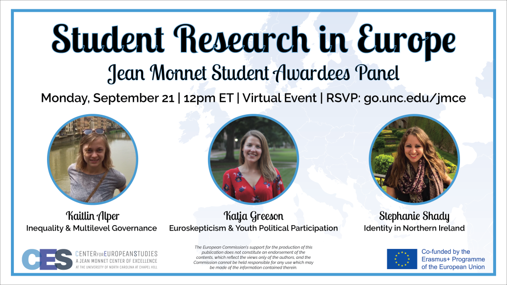 Promotional flyer for September 21 2020 event on student research in Europe.