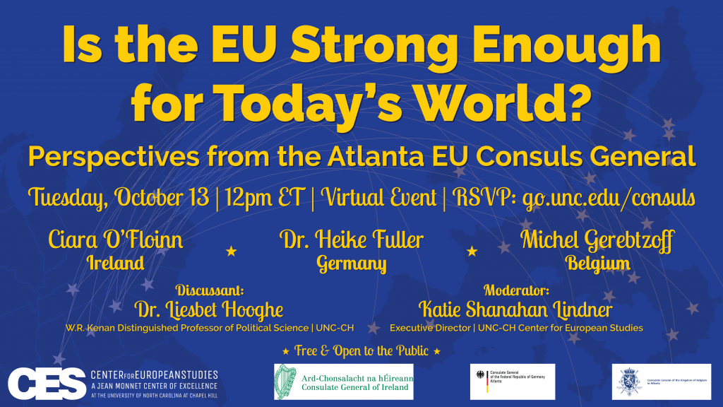 Promotional flyer for October 13 event with Atlanta EU Consuls General.