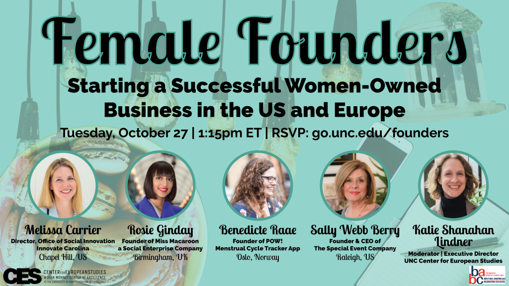 Promotional flyer for female founders event on October 27 2020.