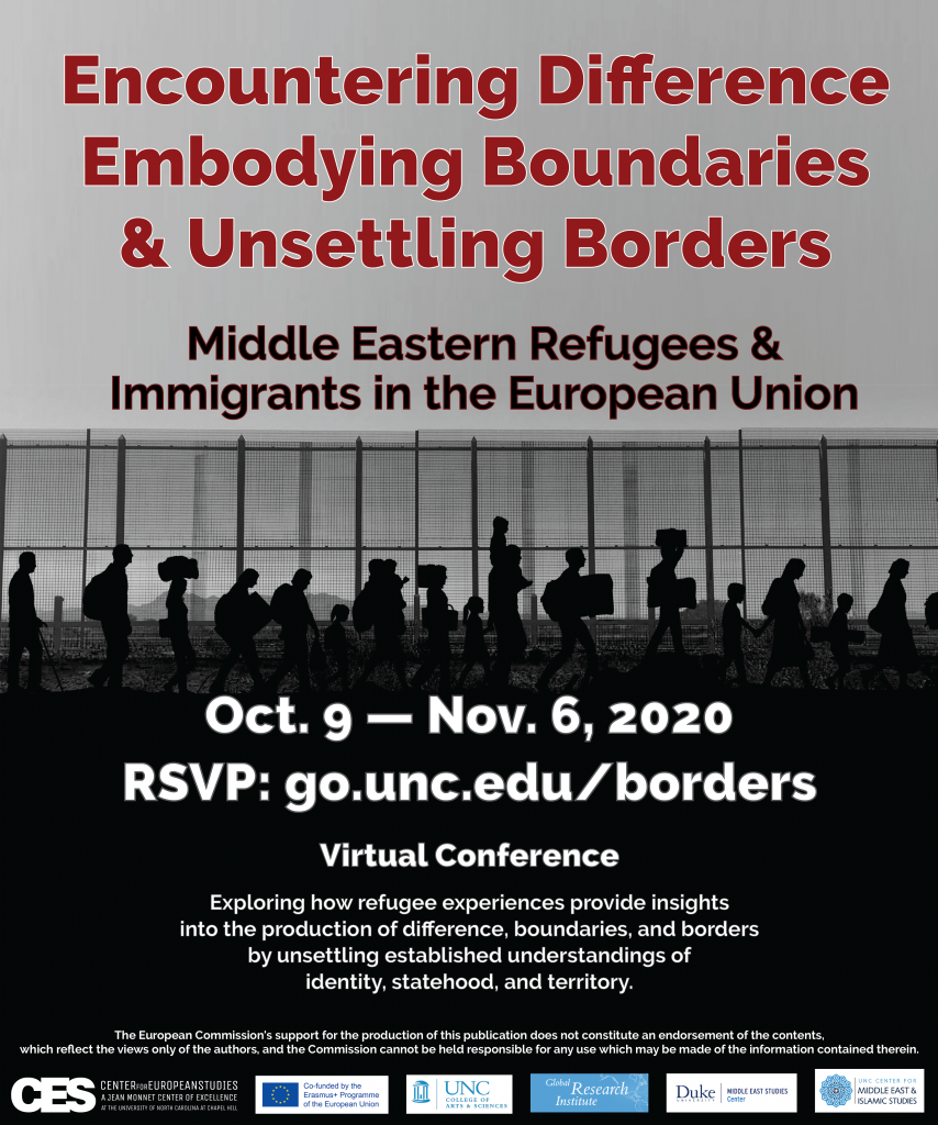 Flyer advertising Unsettling Borders Conference in October 2020.