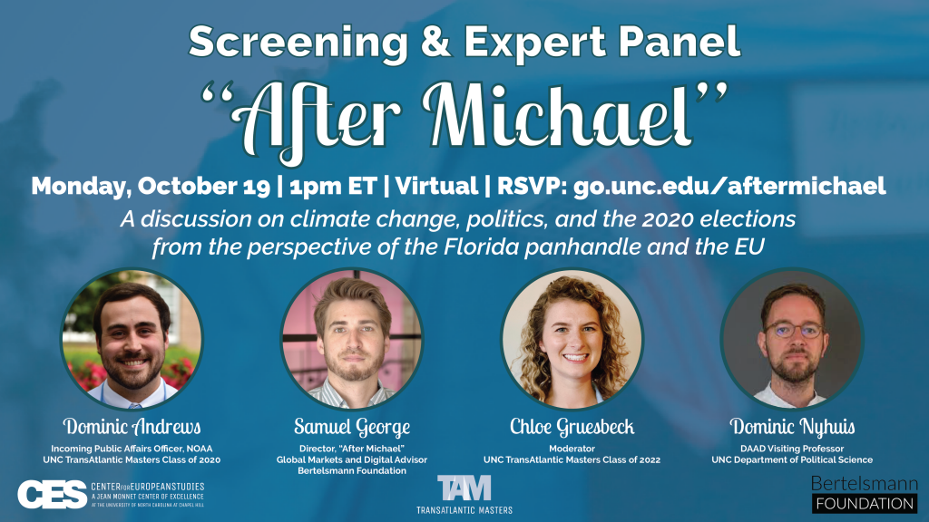 Promotional flyer for October 19 screening and panel on short film After Michael.