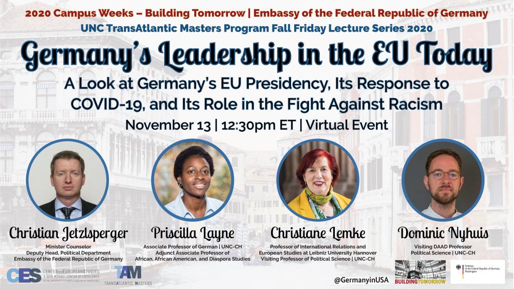 Promotional flyer for November 13 2020 event on Germany's EU leadership.